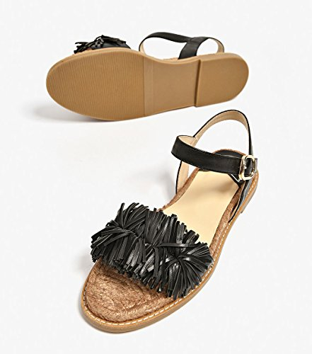 Shoes Sandals Strap for Fringed Flats Flats Leather Black Honeystore Tassels Beach Women 0wx8qCF7