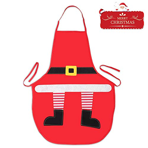 Santa Apron - Christmas Apron for Children Kids - Holiday Santa Kitchen Cooking Apron for Children Kids Chef Cooking, Baking, Crafting, BBQ