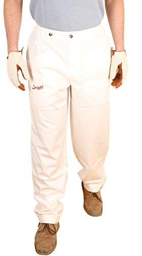 (Suixtil Men's 100% Fine Cotton Twill Modena Race Pant, White, 32/32)