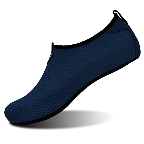 L-RUN Unisex Water Shoes Barefoot Skin Shoes For Run Dive Surf Swim Beach Yoga (XXL(W:12-13,M:9-9.5), Pure Navy)