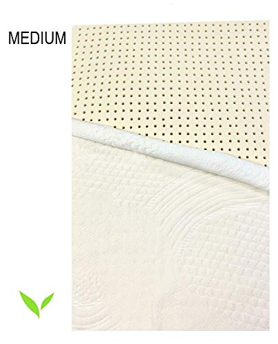 Pure Organic Latex Mattress Topper Queen Size 2 Inch Medium Firm Covered in Strong Premium Organic Cotton, Superior Pressure Relieving, Made in USA