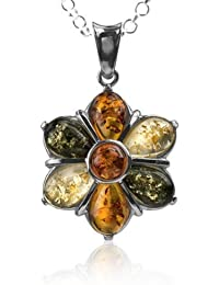 Multicolor Amber Sterling Silver Flower Pendant Necklace Chain 18""
