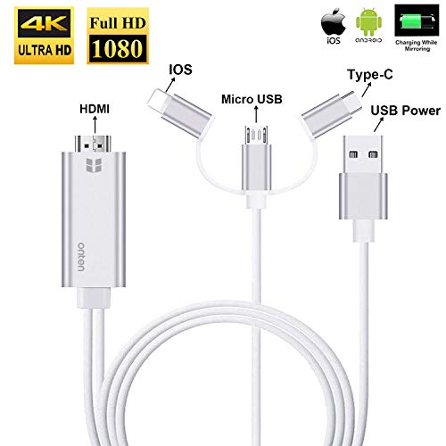3 in 1 HDMI Cable Adapter, Onten 1080P USB/Type-C to HDMI Adapter Mirror Mobile Phone Screen to TV/Projector/Monitor Compatible with S8/9 Note 8/9 and More Android Devices