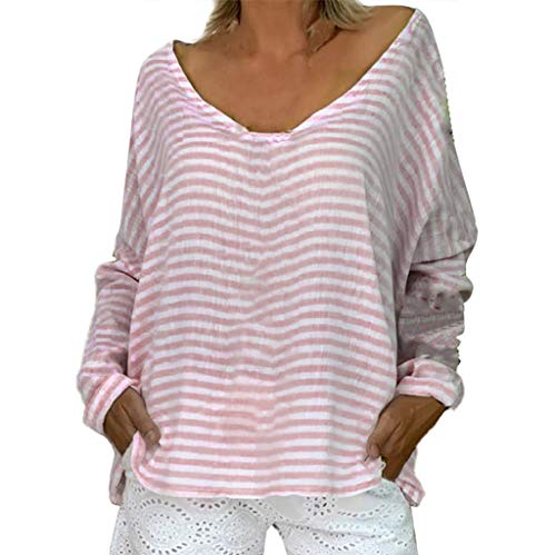 Fashion Top Women's Loose Plus Size Stripe Long Sleeve O-Neck Pullover Tops Shirt Video Projector Remote Controls Pink M