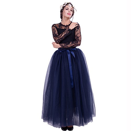 Bride Costume With Tutu (Maxi Long Tutu Tulle Skirt For Women Floor Length 7 Layers Pleated Bridesmaid Skirts (Free Size, Navy))