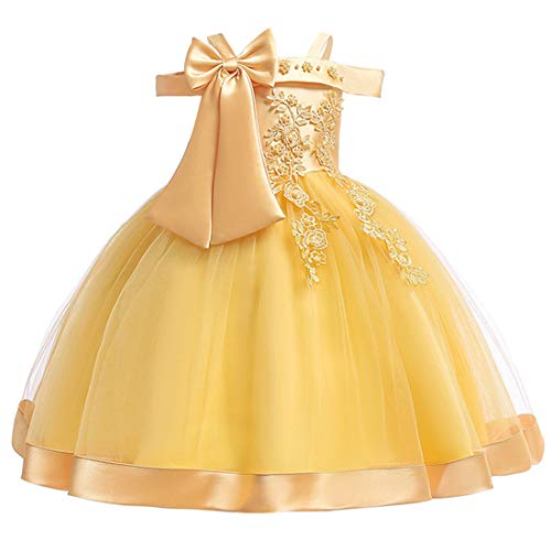 (4T Dresses for Girls Knee Length Party Summer Flower Dresses for Kids 3T Wedding Ball Gowns Sleeveless Yellow Girl Dress Vintage Size 3 4 Lace Tutu Tulle Formal Princess Easter)