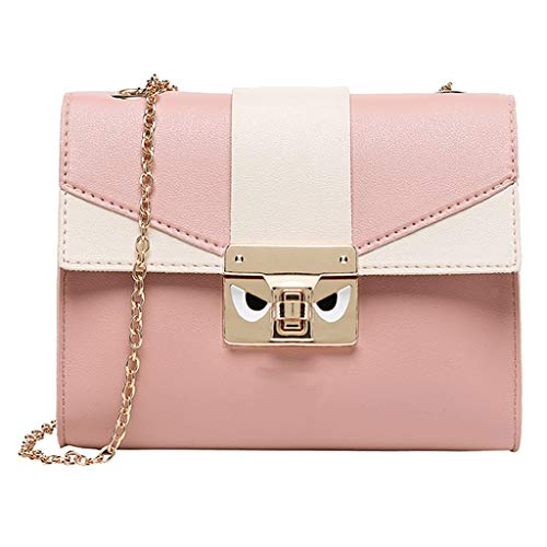 (Fashion Lady Shoulders Stitching Small Backpack Letter Purse Mobile Phone Messenger Bag (Pink))