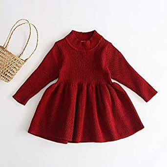 Aaaaamber Baby Girl Cute Knitted Tutu Dress Solid Color Long Sleeve Sweater Dress Spliced Chiffon Skirt Dress for 3-9T Girls