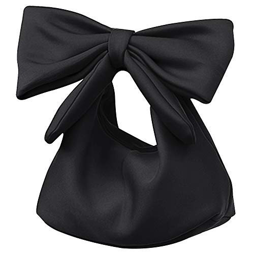 Monique Women Bow Top-handle Bag Solid Color Handbag Purse Beach Travel Tote Evening Party Shoulder Bag Black