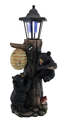 Zeckos Resin Outdoor Figurine Lights Bearly There Honey Hungry Climbing Cubs Solar Lantern Statue 7 X 19 X 6 Inches (Bear Welcome Statue)