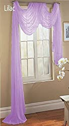 """LuxuryDiscounts Beautiful Elegant Solid Lilac Sheer Scarf Valance Topper 37"""" X 216"""" Long Window Treatment Scarves"""