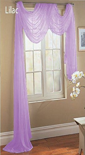 Window Lilac - Luxury Discounts Beautiful Elegant Solid Lilac Sheer Scarf Valance Topper 38