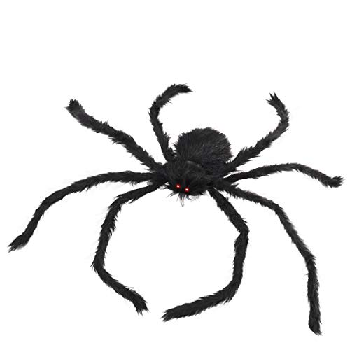 BESTOMZ Halloween Decorations Outdoor Giant Spider with LED Eyes Plush Toy Hairy Spider for Halloween Party Stretched Length 3.3 FT (Red Light) -