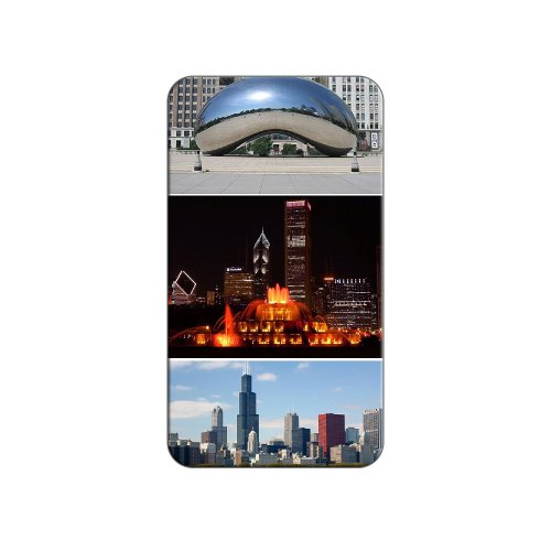 (Chicago - Bean Buckingham Fountain City Skyline - Metal Lapel Hat Pin Tie Tack)