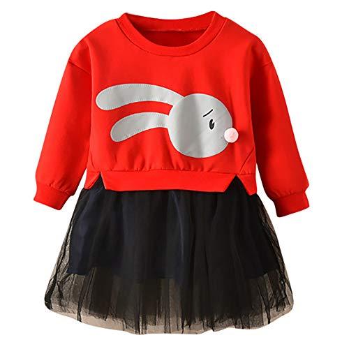 0ae7db88004cb 子供服 Hosam 長袖 メッシュ ドレス 可愛い ウサギ柄 パーカー お嬢様 ワンピース スカート 洋服 幼児トップス