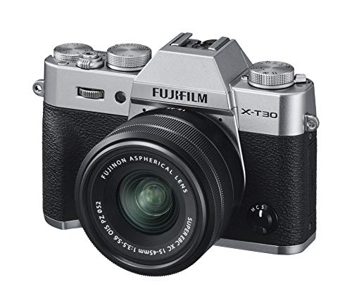 Fujifilm X-T30 Mirrorless Digital Camera, Silver with Fujinon XC15-45mm Optical Image Stabilisation Power Zoom Lens kit, Black