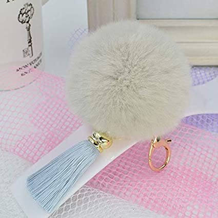 Amazon.com: Rarido 8cm Rabbit Fur Fluffy Keychain Keyring ...