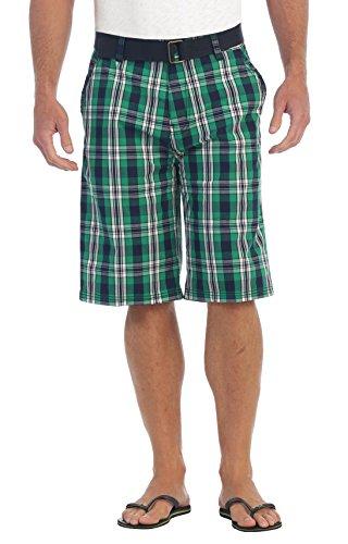 Gioberti Mens Plaid Shorts with Belt, 5 Pockets, Green/Black, Size 32
