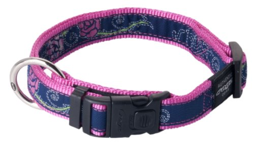 "Rogz Fancy Dress Extra Large 1"" Armed Response Side-Release Fashion Dog Collar, Denim Rose Design"