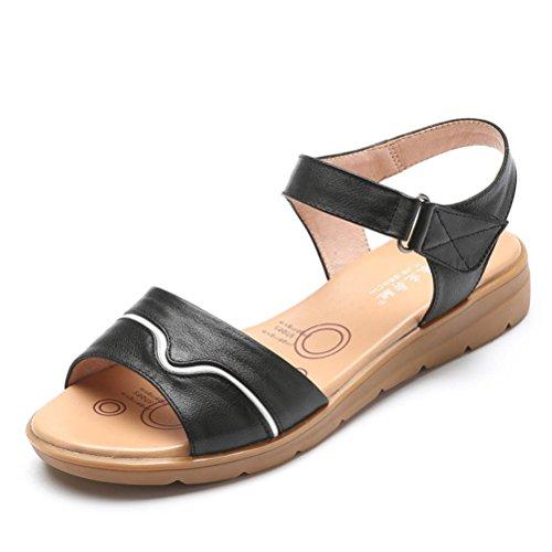 Tacco Punta Alla Di Estive Aperta Per Cinturini Sandalo Sandali Conforto Velcro Caviglia Nero In Basso Flat Spiaggia Donne Biubiong Scarpe Pigolio YqF6wCPxCS