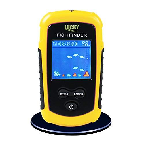 Waterproof Fish Finder, Wireless Handheld Fishfinder Fish Depth Finder with Sonar Sensor Transducer and LCD Display Fishfinder Navigation Tools US detec Sonar Alarm Marine Boat