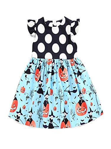 Sameno Girls Dress,Toddler Kids Baby Girls Halloween Pumpkin Cartoon Princess Dress Outfits Clothes (Blue, 2-3 Years)]()