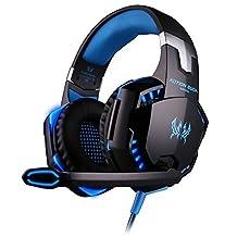KOTION EACH G2000 Auriculares Gaming para PS4, PC, Xbox One Controller, Auriculares con micrófono que cancela el ruido sobre el oído, luz LED, auriculares envolventes bajos por SENHAI-Negro + azul
