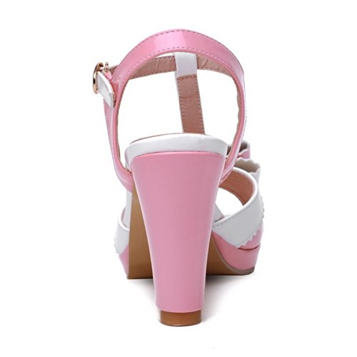 VogueZone009 Womens Open Toe High Heel Platform Chunky Heels PU Patent Leather Assorted Colors Sandals with Bowknot, Pink, 3.5 UK