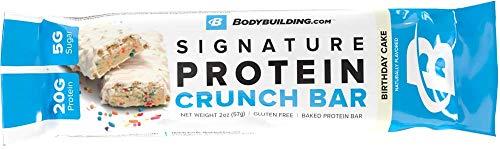 Bodybuilding.com Birthday Cake Signature Protein Crunch Bar | 20g Whey Protein Low Sugar | Gluten Free No Artificial Flavors | 1 Sample Bar