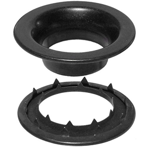 Grommet and Spur Washer Dull Black Chem Durable, Reliable, Heavy-Duty #8 Set (100 Pieces of Each) ()