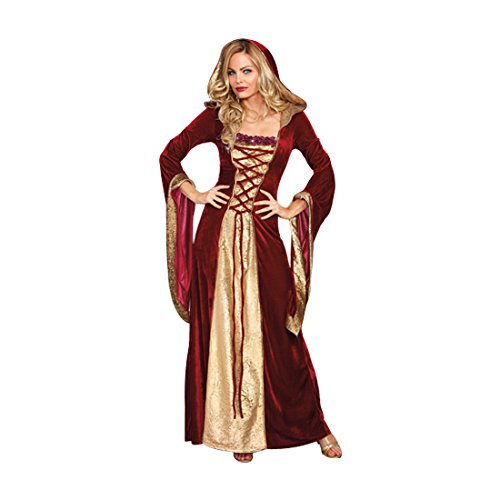 [Dreamgirl Women's Lady Of Thrones Costume, Red/Gold, Small] (Halloween Costumes Renaissance)