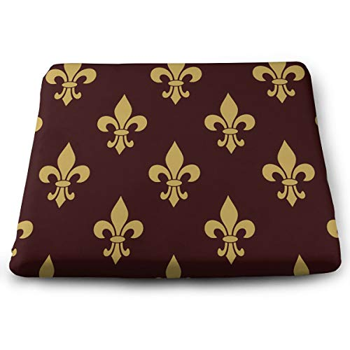 NEHomer Square Chair Pads Fleur De Lis Mardi Gras Sd Seat Cushions Comfortable Seat Cushion with Filling | Beautiful and Decorative Cushions for Home,Kitchen, Dining Room and Chair Pads (De Lis Fleur Chair Cushions)
