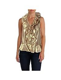 Lauren Ralph Lauren Womens Silk Metallic Blouse
