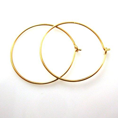 22k Gold plated over Sterling Silver Hoop Earrings, 20mm Ear Hoops (Sold Per 2 Pairs) 22k Gold Vermeil Hoop