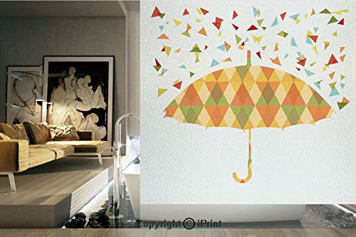 Decorative Privacy Window Film/Colored Triangles Like Raindrops Absract And Fashion Mosaic Umbrella Art Print/No-Glue Self Static Cling for Home Bedroom Bathroom Kitchen Office Decor Multicolor (Ivy Umbrella)