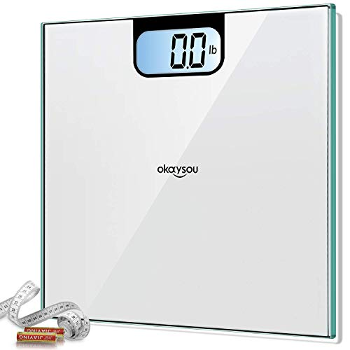 Okaysou Accurate Bathroom Scales for Body Weight, All-New Digital Weight Scale with 3.6 inches Large Backlit LCD Display, Step-on Technology, 400lbs