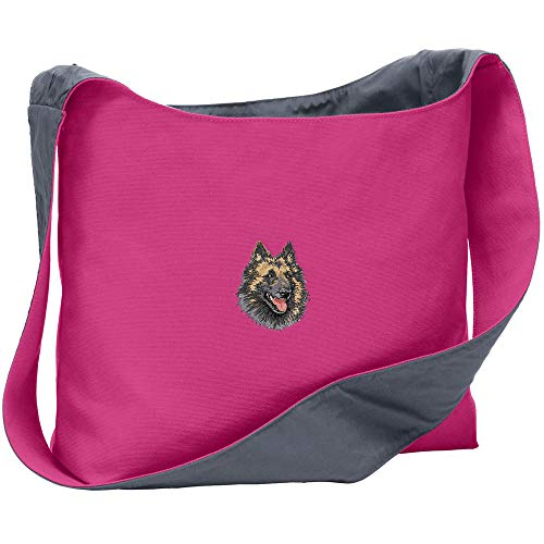 (Cherrybrook Breed Embroidered Port Authority Canvas Sling Bag - Tropical Pink/Charcoal - Belgian Tervuren)