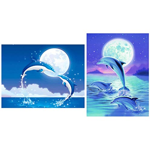 - SoFire 2 Piece DIY 5D Diamond Painting Kit Dolphin Pattern Embroidery Rhinestone Cross Stitch (25X30CM/9.8X11.8 inch)