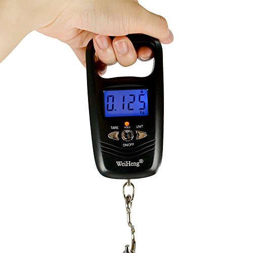 WiseField Digital Hanging Fish Scale Luggage Travel 110lb/50kg LCD Backlit Balance Weight Hook