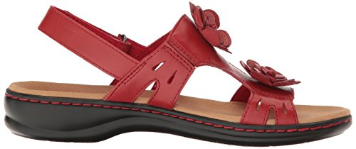 Clarks Vrouwen Leisa Claytin Flat Sandaal Rode Lederen