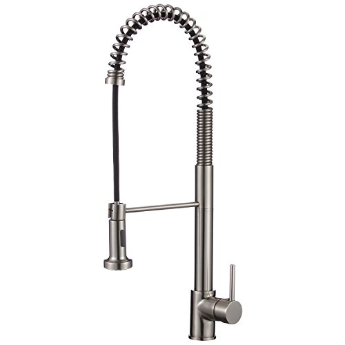 Upscale Designs 70202 24 2  High Arch Single Handle Pull Down Sprayer Kitchen Faucet With Soap Dispenser  Brushed Nickel
