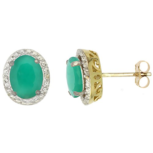 10K Yellow Gold 0.01 cttw Diamond Natural Cabochon Emerald Post Earrings Oval 7x5 mm ()