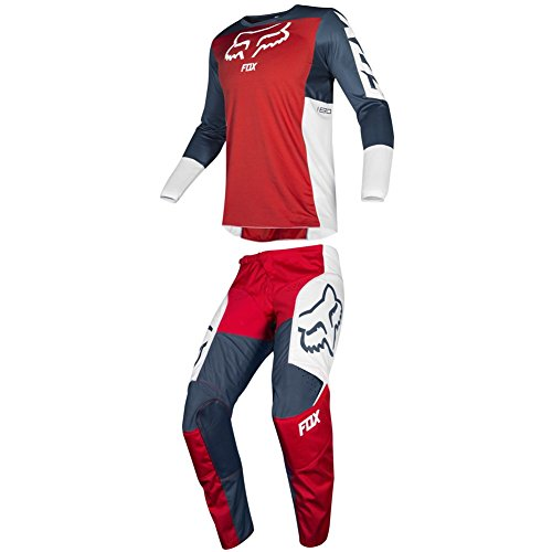 (Fox Racing 2019 180 PRZM Jersey and Pants Combo Offroad Gear Set Adult Mens Navy/Red Large Jersey/Pants 34W)
