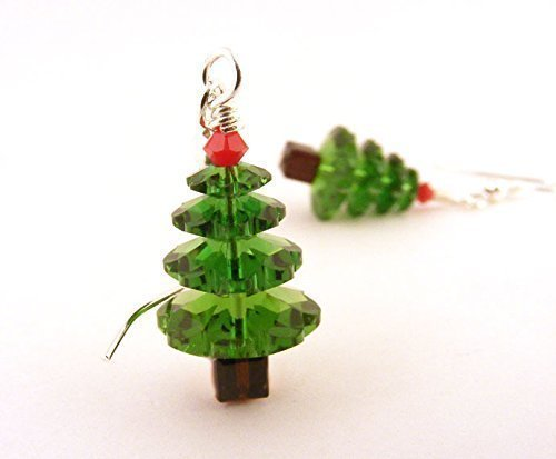 Christmas Tree Earrings made with Crystals from Swarovski Silver Toned Ear Wires