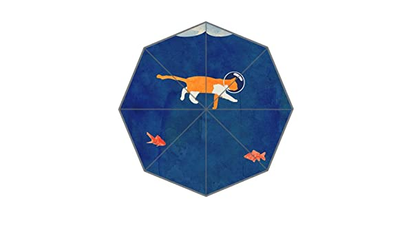 Amazon.com : Cute Lovely Cartoon Art Deco Painting Yellow Kitty Cat Goldfish Foldable Umbrella : Sports & Outdoors