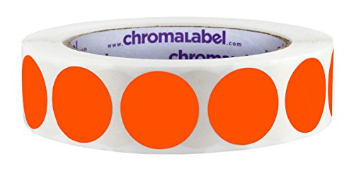 ChromaLabel 1 inch Color-Code Dot Labels | 1,000/Roll (Fluorescent Red-Orange)
