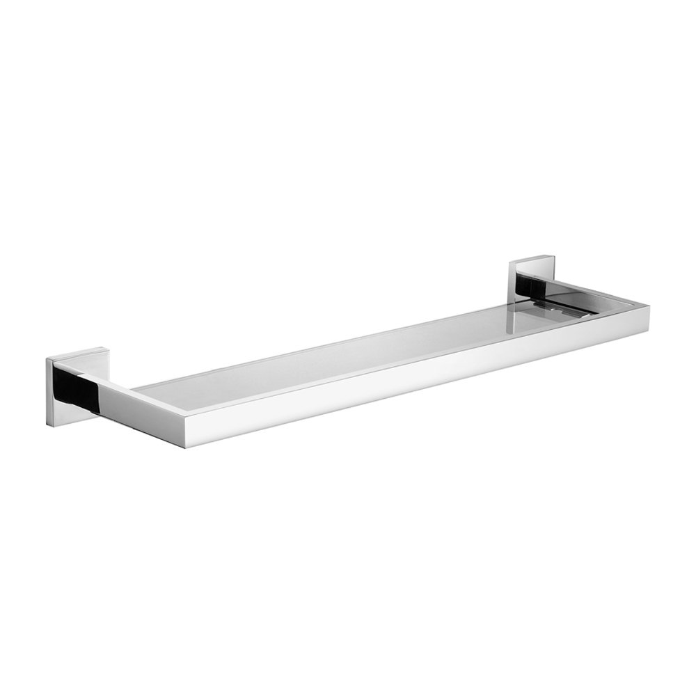 Leyden Wall Mount Chrome Finish Stainless Steel Material Bathroom Glass Shelf Lavatory Accessories
