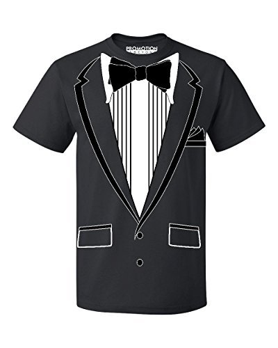 (Promotion & Beyond Tuxedo (Black) with Pocket Square Ceremony Men's T-Shirt, XL, Black)