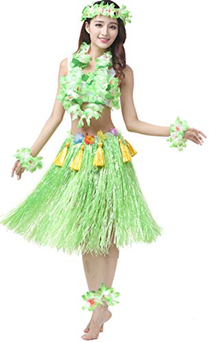 (Yesier Hawaii Hula Grass Skirt with Flower Leis Costume Set Adult Party, 1 Set 60 cm (Green))