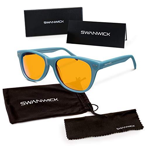 Blue Light Blocking Glasses for Kids - Swannies Gamer and Computer Eyewear for Children - Deep Sleep - Digital Eye Strain Prevention - FDA Registered Company - Swanwick Sleep (Blue) Kids